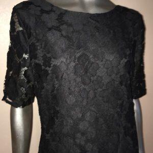 Covington black lace sheath dress